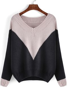 fd289f2313 Shop Colour-block V Neck Loose Sweater online. SheIn offers Colour-block V