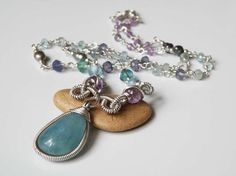 Aquamarine necklace  wire wrapped  sterling by DancingLotusDesigns,