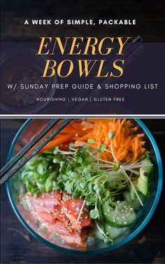 5 Healthy Energy Bowls for the Workweek! With Shopping List and Simple Prep Guide... a free gift| Vegan and Gluten Free| www.feastingathome.com