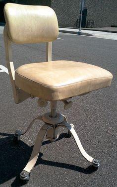 vintage wood yellow vinyl swivel desk office chair industrial retro
