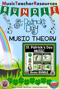 Help your students improve their music theory knowledge and understanding in a fun, engaging and interactive way! This St PATRICK'S DAY themed bundle contains FOUR BOOM card decks: 1. Complete the measure/bar 2. Match the rhythm to the word/phrase 3. Treble note recognition 4. Bass note recognition ♫ ♫ #musiceducation #musicteacherresources #mtr #boomcardsformusic #boomcards Music Teacher Resources
