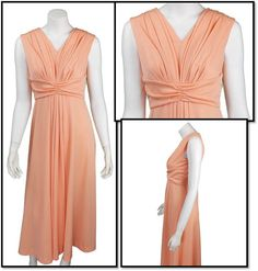 Peach Colored 1970's Vintage Dress by SoshalFashon on Etsy