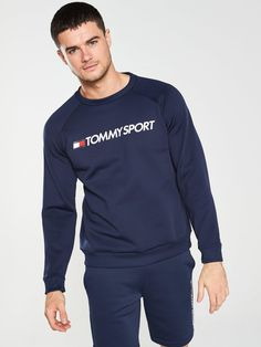 Tommy Hilfiger Tommy Sport Fleece Logo Crew Neck Sweat in Navy Trouser Jeans, Trouser Suits, Formal Shirts, Basic Style, Tie Knots, Sock Shoes, Tommy Hilfiger, Crew Neck, Suit Jacket