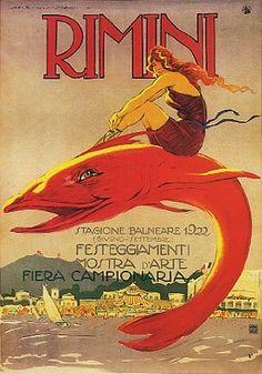 Rimini vintage poster, girl riding a fish, 1922