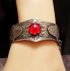 Vintage Hamsa silver hinged jewelled bracelet by vintagesparkles