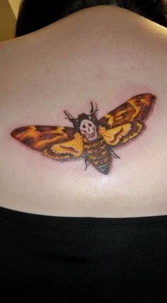 The Death's Head Moth from The Silence of the Lambs, done at Big Mojo Tattoo in Indiana, PA by Tyler Yakicic, who did an INCREDIBLE job. Silence of the Lambs Tattoo Future Tattoos, Love Tattoos, Body Art Tattoos, New Tattoos, Amazing Tattoos, Tatoos, Sick Tattoo, Tattoo Care, Moth Tattoo Meaning