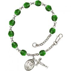 Brendan the Navigator Silver Plate Rosary Bracelet August Green Fire Polished Beads Crucifix Size x medal. x inch Silver-Plated Metal with x inch Crucifix. Inch Length, 8 Inch with Clasp. Lifetime No-Tarnish Guarantee. Hand-Made in Rhode Island. Birth Month Colors, Bliss Products, Catholic Jewelry, Rosary Bracelet, Lanyard Necklace, Pendant Necklace, Crucifix, Our Lady, Peridot