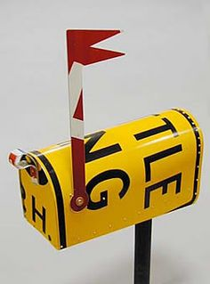 street sign furniture. mailbox made from recycled street signs sign furniture