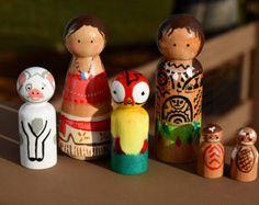 Moana and Maui Peg Doll Set