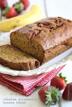 This banana bread is moist and delicious, made with white whole wheat flour, sweet roasted strawberries and ripe bananas, with just a smidgen of butter, so you