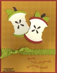 Stampin' Up! Round Tab Punch Michele Reynolds Apple Tutorial - another cool… Paper Punch Art, Punch Art Cards, Get Well Cards, Fall Cards, Paper Cards, Creative Cards, Kids Cards, Cute Cards, Greeting Cards Handmade
