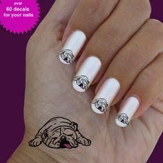 Bulldog english, nail art, nail decal, set of 60 waterslide nail decal #dog003