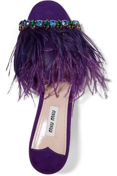 Miu Miu - Crystal And Feather-embellished Suede Mules - Purple - IT35.5