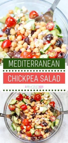 A simple Mediterranean Chickpea Salad you can prepare in less than 20 minutes! This quick and healthy recipe is packed with Mediterranean flavors fresh tomatoes cucumbers and chickpeas. Serve this as a meatless entree for lunch and dinner! Chickpea Salad Recipes, Pasta Salad Recipes, Healthy Salad Recipes, Vegetarian Recipes, Recipes With Chickpeas, Simple Salad Recipes, Vegetarian Lunch, Entree Recipes, Lunch Recipes