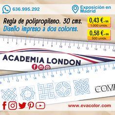 Reglas de polipropileno de 30 cms. personalziadas con diseño impreso a dos colores por una cara. Solicita tu presupuesto a través de nuestra web. www.evacolor.com