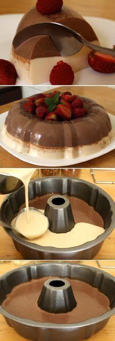 GELATINA DE TRES LECHES Y CHOCOLATE ABUELITA By Alejandra de Nava Si te gusta di. Jello Cake, Jello Desserts, Sweet Desserts, Sweet Recipes, Delicious Desserts, Yummy Food, Flan Cake, Gelatin Recipes, Jello Recipes