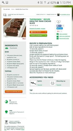 Marshmallow Slice, Thermomix Recipes Healthy, Sweets Recipes, Desserts, Recipes With Marshmallows, Raw Cacao, Food Print, Snacks, Baking