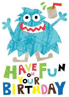 Monster   Childrens Happy Birthday Greeting Card   £2.99
