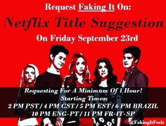 Please put Faking It Season 4,5,or 6 on the request box so that netflix will know we are requesting for new seasons not reruns or replays. And the greatest part if that you dont need a subscription to request! go to: https://help.netflix.com/en/titlerequest  #FakingIt #SaveFakingIt #KarmyArmy