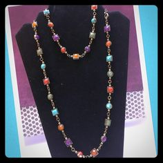 """Color tone necklace """"chiclet"""" Matte brass plated 36"""" necklace NWOT Premier Designs Jewelry Necklaces"""