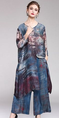 Vintage Blue Print Long Shirt With Wide-leg Pants Loose Two Piece For Women Y917