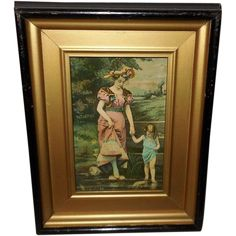 Shadow Box Frame with Vintage Print of Mother and Daughter