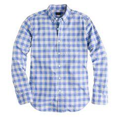 j crew Secret Wash shirt in peri gingham