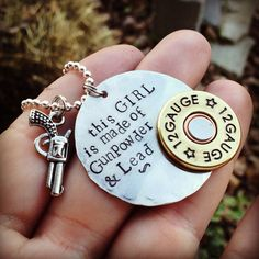 "Hand Stamped ""little Girls Are Made Of Gunpowder And Lead"" Necklace With…"
