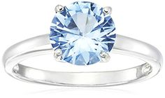 Sterling Silver 8mm Created Aquamarine Ring, Size 7 ? Jewelry from Selena