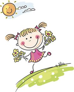 Happy little girl playing outdoors. Art Drawings For Kids, Drawing For Kids, Easy Drawings, Art For Kids, Happy Cartoon, Cartoon Kids, Clipart, Stick Figure Drawing, Kids Background