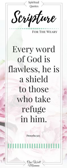 Inspirational Scripture on One Well Momma - Every Word of God is flawless, he is a shield to those who take refuge in him from 6 Traits Inspirational Scripture Quotes, Inspirational Quotes About Success, Success Quotes, Bible Quotes, Bible Verses, Motivational Quotes, Women's Mental Health, Spiritual Health, Spiritual Quotes