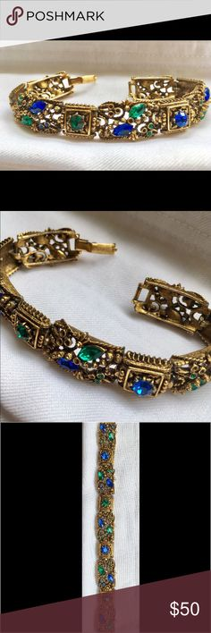 """✨ VINTAGE 1950s Bracelet  ✨ Belonged to my Grandmother. She purchased this little gem back in the 1950s, and Being a Child of the 1930s """"Great Depression""""- she only wore it on Special Occasions. There are several missing gems. No Brand/Label. Gold Plated. I have had this Piece for over a Decade and Never Wore it. 7 inches. Very Ornate. 🌹🌹REASONABLE AND SERIOUS OFFERS ONLY❗️🌹🌹 I want to find the perfect home for it ✨✨🌸🌸 Jewelry Bracelets"""