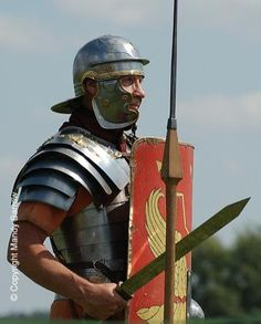 The typical Roman legionnaire carryed a Gladius in battle. A short sword  used mainly as a close quarter stabbing weapon. Also the Pilum,made especially for the legionnaire. He carried two Pila (the pural of Pilum) each one was relatively light and when the legion was marching they were carried in the free hand (the other one carried the pack) in battle the Pila was attached to the Scutum, a tall shield that was the identifying mark of the legionnaire, an essential piece of roman strategy.
