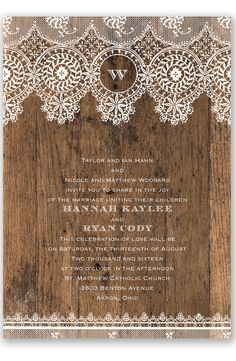 Barnwood and Lace Wedding Invitation by David's Bridal