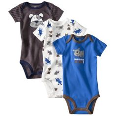 JUST ONE YOU ™ Made by Carters ® Infant Boys 3 Pack Assorted Bodysuit Set - Grey  $8.99