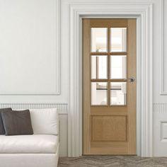 Iris 6 Light White Oak Door with Raised Mouldings and Bevelled Clear Safety Glass. #glazeddoor #safetyglassdoor #oakinternaldoor