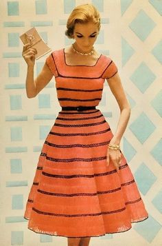 Striped Orange and Black Dress