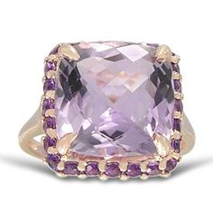 Rose Gold Plated Sterling Silver 12mm Cushion Pink Amethyst Ring: Jewelry: Amazon.com