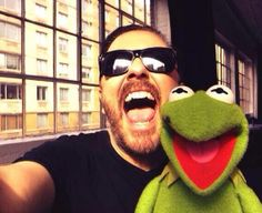 Ricky Gervais & Constantine.  Muppets Most Wanted was SO funny!