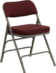 Flash Furniture HERCULES Series Premium Curved Triple Braced  Double Hinged Burgundy Fabric Metal Folding Chair -- You can get more details by clicking on the image. #OfficeDesign