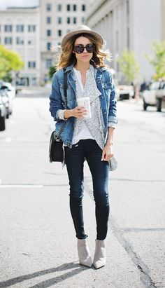 denim jacket + grey cardigan
