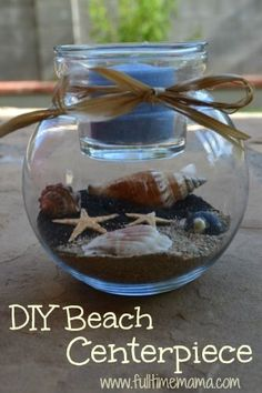 Diy Sand Candle Holder Home Decor- Beach Wedding Centerpiece - Click for More...