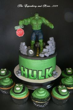 The Incredible Hulk - This was for a friends son. The cake and cupcakes were displated on one of my cupcake trees.