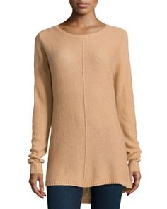T8M3M Neiman Marcus Cashmere High-Low Tunic, Camel