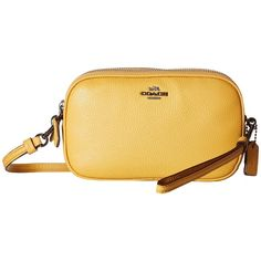 COACH Pebbled Leather Crossbody Clutch (DK Yellow Gold) (10.040 RUB) ❤  liked on Polyvore featuring bags, handbags, clutches, gold purse, ... a41b276742