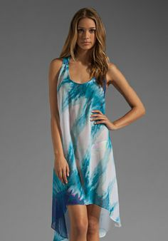 TRINA TURK Indio Tie Dye Cover Hi-Low Dress in Turquoise