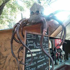 Cool Steampunk kraken sculpture in Budapest