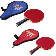 Black/Red Long Handle Shake-hand Table Tennis Racket 7-layer Wood Pingpong Paddle with Waterproof Carry Bag Pouch