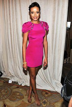 celebpicbuzz:  Stars Hot Pink Dresses Pictures Selita Ebanks UsMagazine via usmagazine.com