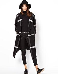 ASOS Mono Check Longline Wrap Coat